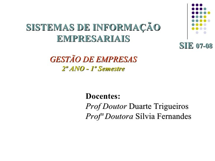SISTEMAS DE INFORMAÇÃO     EMPRESARIAIS                                      SIE 07-08   GESTÃO DE EMPRESAS     2º ANO - 1...
