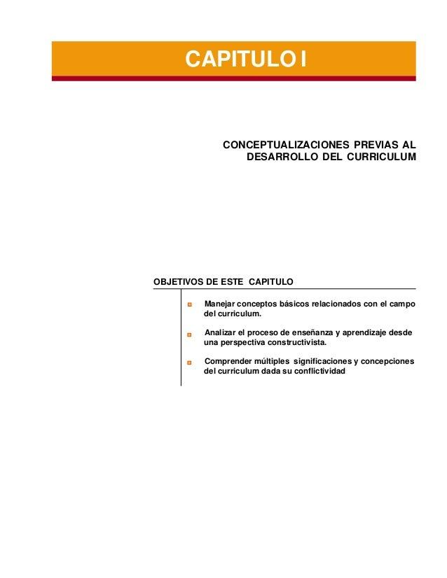 CAPITULO I  CONCEPTUALIZACIONES PREVIAS AL DESARROLLO DEL CURRICULUM  OBJETIVOS DE ESTE CAPITULO Manejar conceptos básicos...