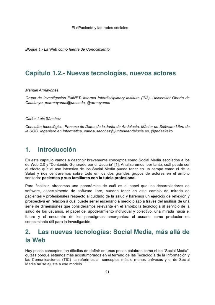 El ePaciente y las redes socialesBloque 1.- La Web como fuente de ConocimientoCapítulo 1.2.- Nuevas tecnologías, nuevos ...