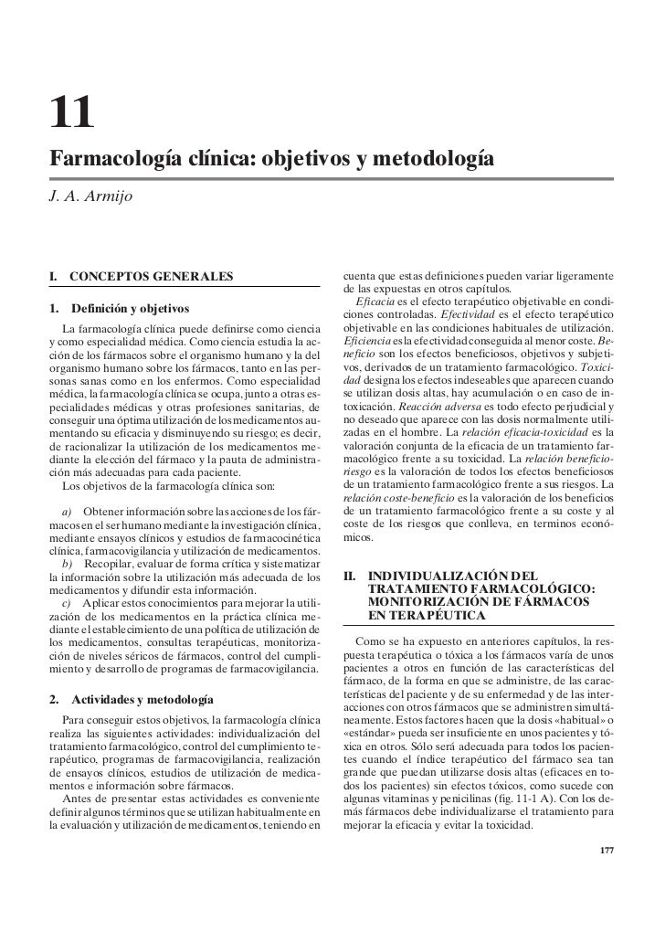 11Farmacología clínica: objetivos y metodologíaJ. A. ArmijoI.   CONCEPTOS GENERALES                                      c...