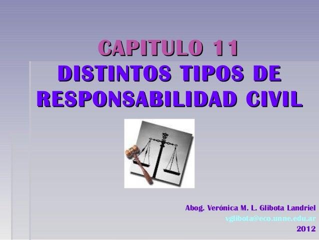 CAPITULO 11CAPITULO 11DISTINTOS TIPOS DEDISTINTOS TIPOS DERESPONSABILIDAD CIVILRESPONSABILIDAD CIVILAbog. Verónica M. L. G...