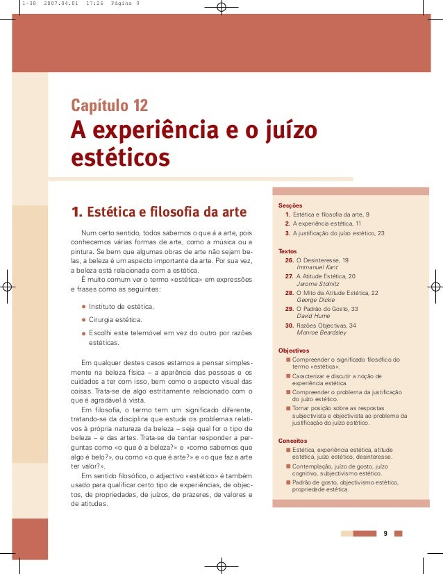 Capítulo 12 A experiência e o juízo estéticos Secções 1. Estética e filosofia da arte, 9 2. A experiência estética, 11 3. ...