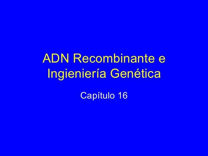ADN Recombinante e Ingieniería Genética Capítulo 16