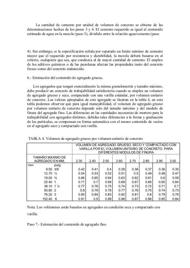 La cantidad de cemento por unidad de volumen de concreto se obtiene de las determinaciones hechas de los pasos 3 y 4. El c...