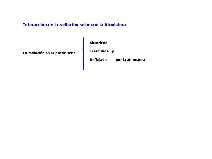 Interacción de la radiación solar con la Atmósfera La radiación solar puede ser : Absorbida Trasmitida  y Reflejada  por l...