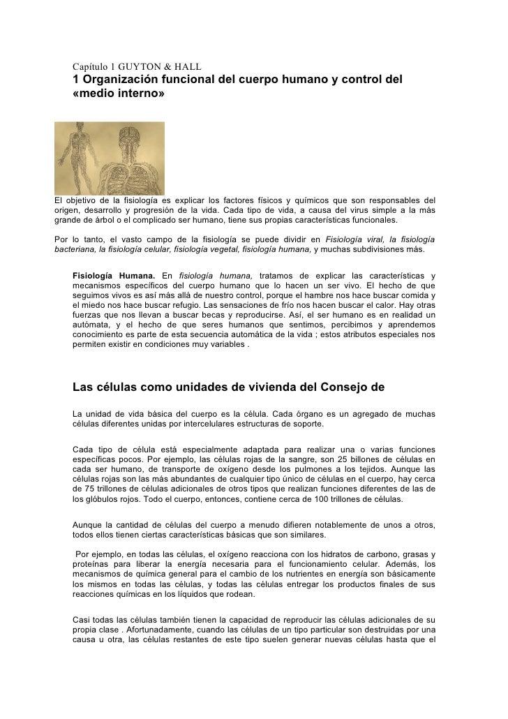 Capitulo 1 organización funcional del cuerpo humano y control del
