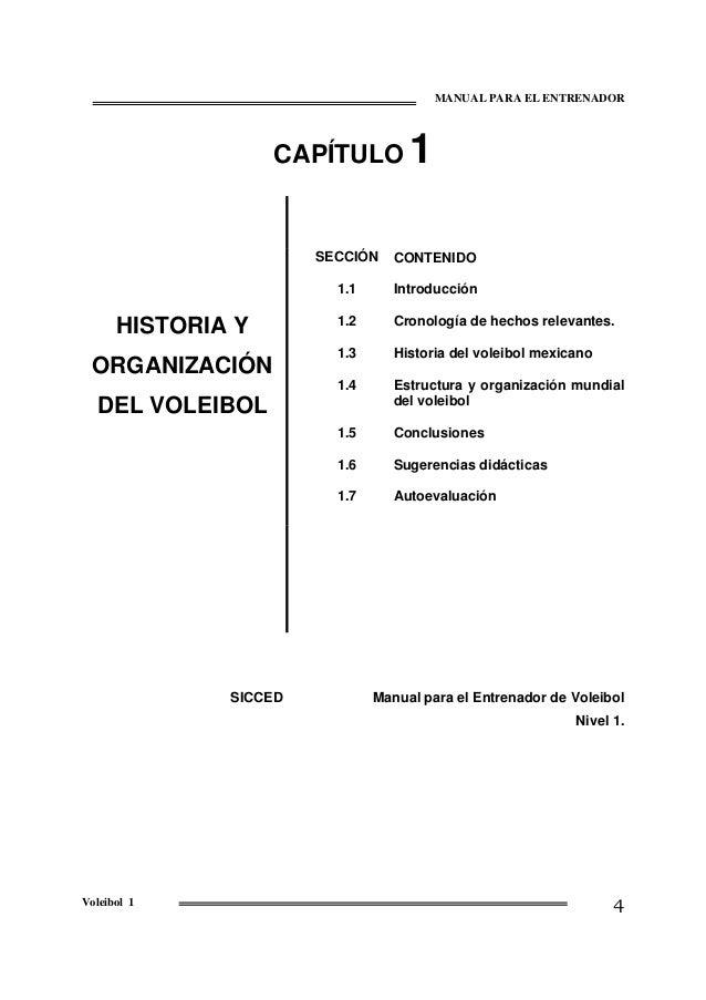 MANUAL PARA EL ENTRENADOR  CAPÍTULO  1  SECCIÓN 1.1 1.2  Cronología de hechos relevantes.  1.3  Historia del voleibol mexi...