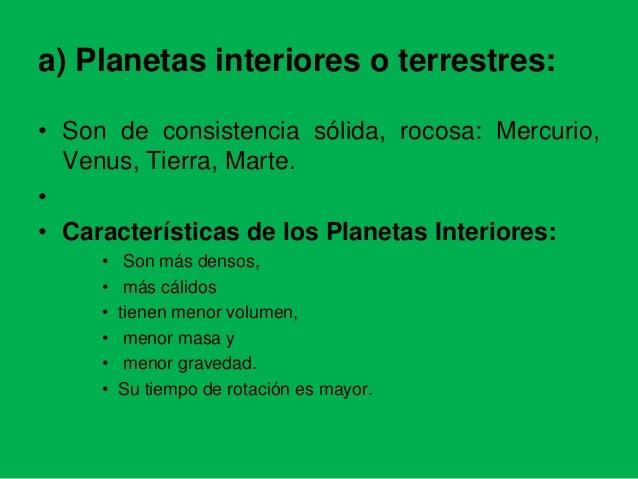Capitulo 1 y 2 geografia - Caracteristicas de los planetas interiores ...