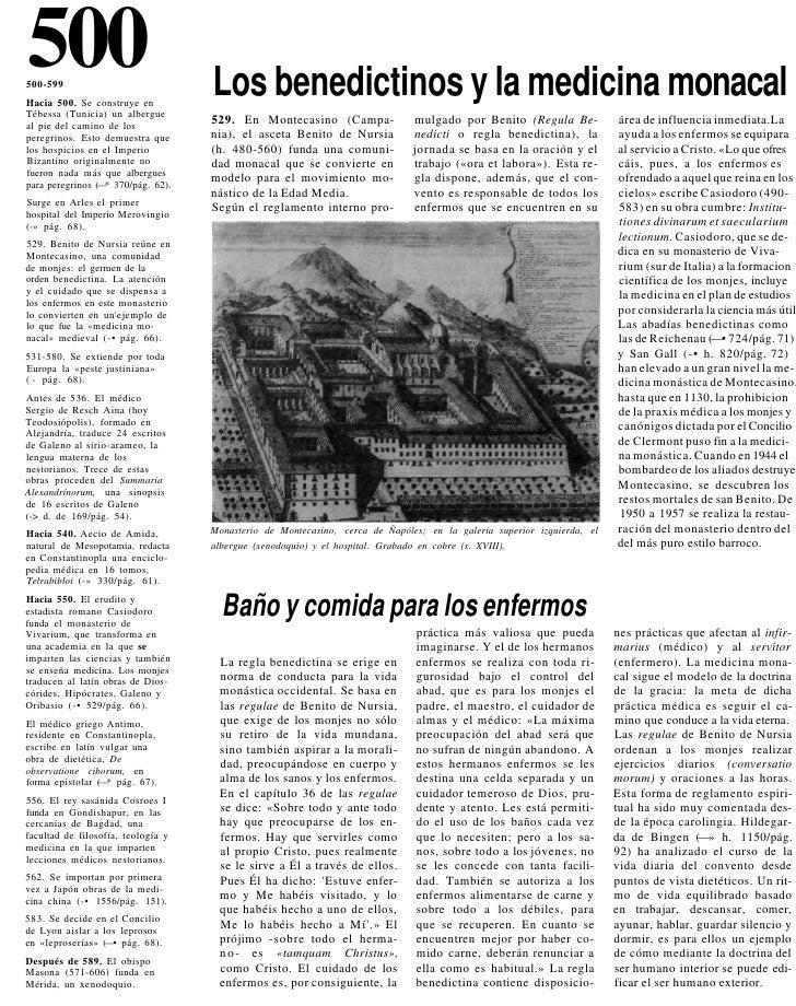 500 500-599 Hacia 500. Se construye en                                     Los benedictinos y la medicina monacal Tébessa ...