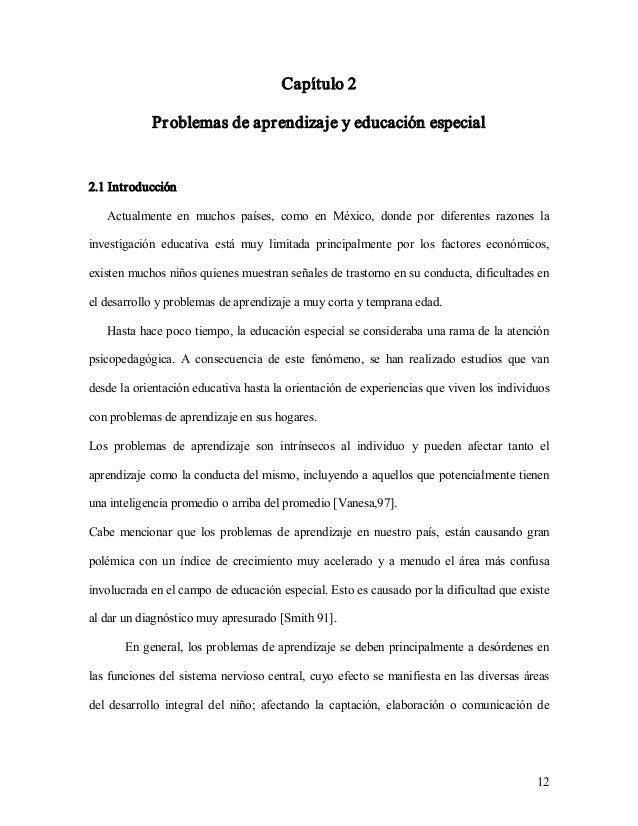 12 Capítulo2 Problemasde aprendizajey educaciónespecial 2.1Introducción Actualmente en muchos países, como e...