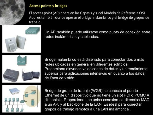 Access points y bridgesEl access point (AP) opera en las Capas 1 y 2 del Modelo de Referencia OSI.Aquí es también donde op...