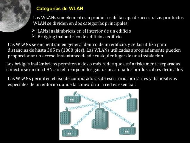 Categorías de WLAN             Las WLANs son elementos o productos de la capa de acceso. Los productos             WLAN se...