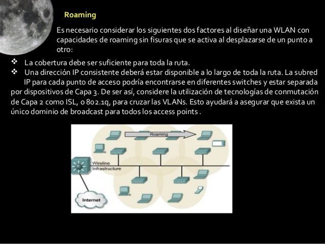Roaming             Es necesario considerar los siguientes dos factores al diseñar una WLAN con             capacidades de...