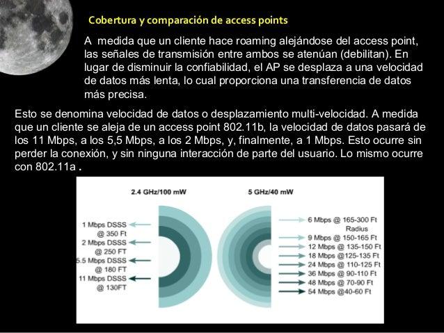 Cobertura y comparación de access points              A medida que un cliente hace roaming alejándose del access point,   ...