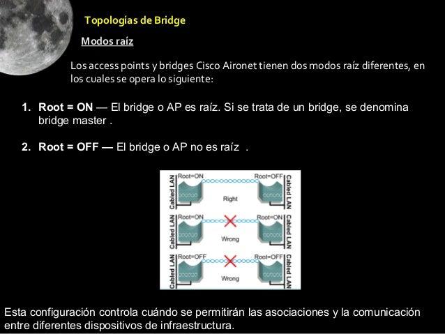 •Root = OFF — El bridge o AP no es raíz                Topologías de Bridge               Modos raíz             Los acces...