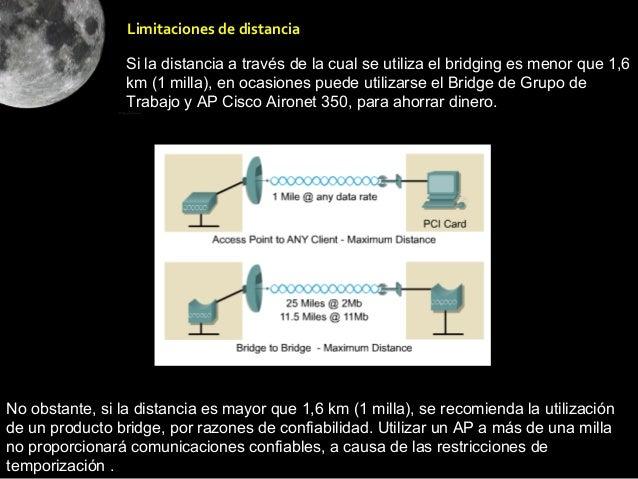 Limitaciones de distancia                 Si la distancia a través de la cual se utiliza el bridging es menor que 1,6     ...