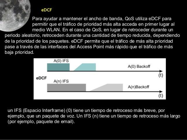 eDCF              Para ayudar a mantener el ancho de banda, QoS utiliza eDCF para              permitir que el tráfico de ...