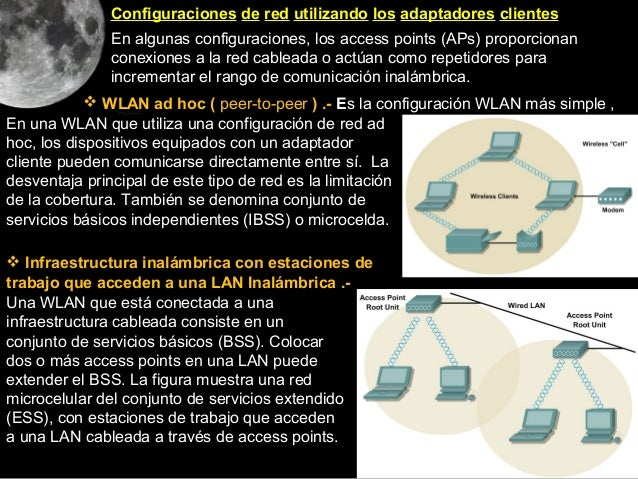 Configuraciones de red utilizando los adaptadores clientes              En algunas configuraciones, los access points (APs...