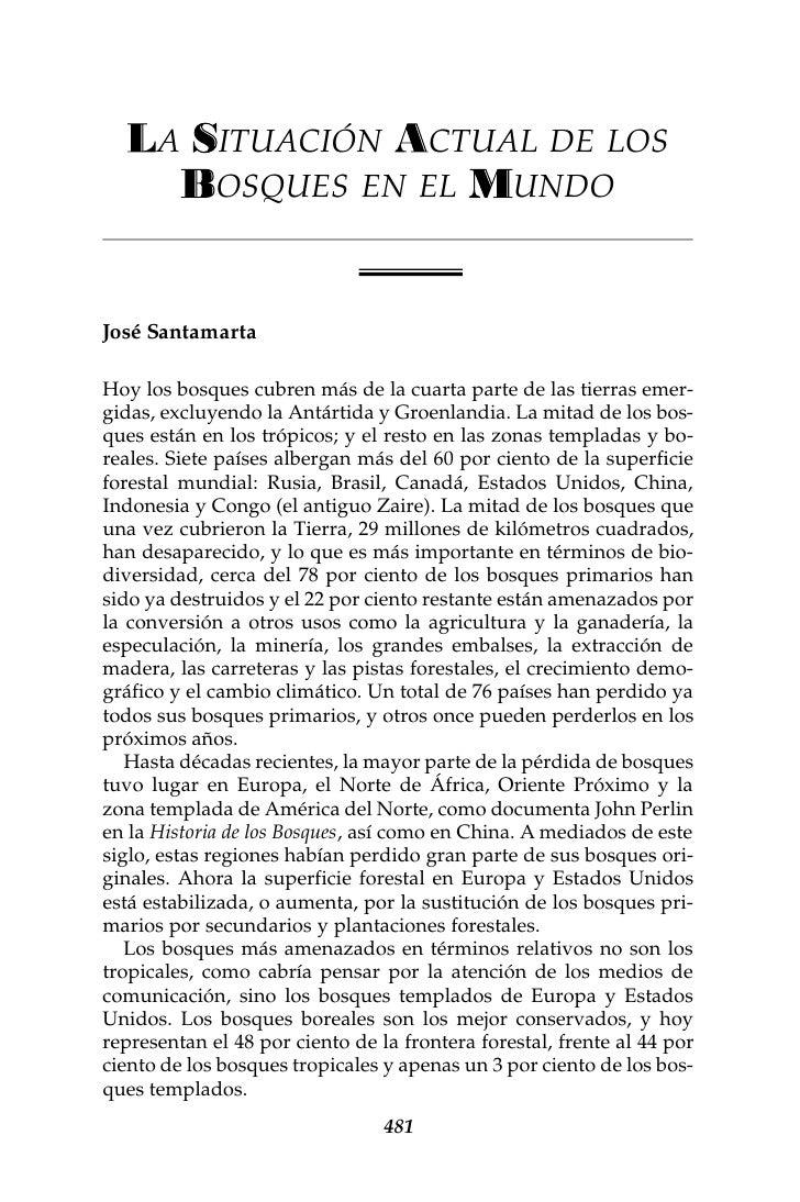 NOTAS Y COMENTARIOS       481          A      ITUACIÓN CTUAL DE LOS              OSQUES EN EL UNDO    José Santamarta  Hoy...