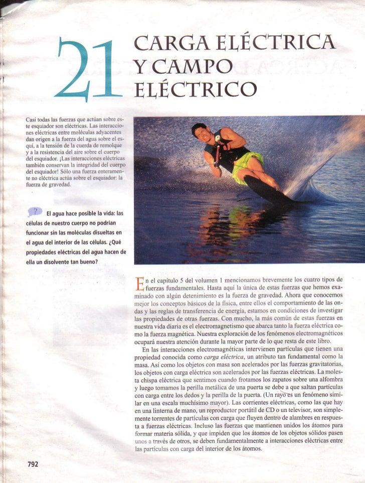 """LIBRO: FÍSICA- SEARS. Capítulo: """"CARGA ELÉCTRICA Y CAMPO ELÉCTRICO"""""""