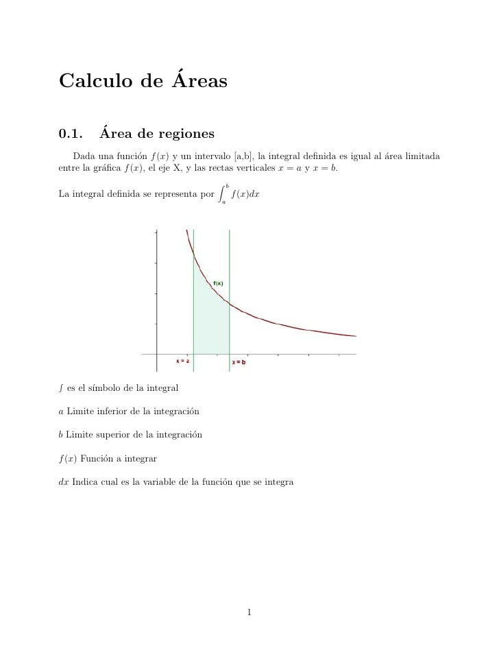 ´Calculo de Areas0.1.      ´          Area de regiones   Dada una funci´n f (x) y un intervalo [a,b], la integral definida ...