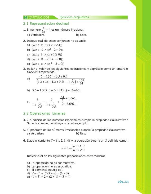 2 CAPÍTULO DOS Ejercicios propuestos  2. Indique cuál de estos conjuntos no es vacío.  a) {x/x ∈ ∧ (3 < x < 4)}  b) {x/x ∈...