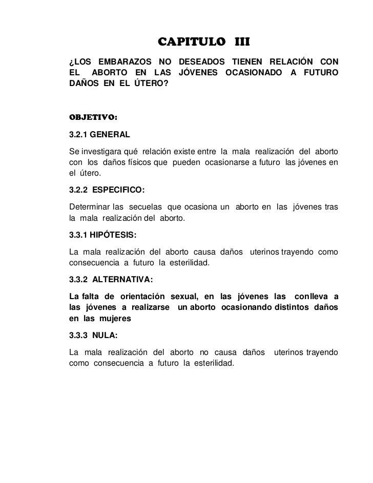 CAPITULO   III<br />¿LOS  EMBARAZOS  NO  DESEADOS  TIENEN  RELACIÓN  CON   EL   ABORTO  EN  LAS  JÓVENES  OCASIONADO  A  F...