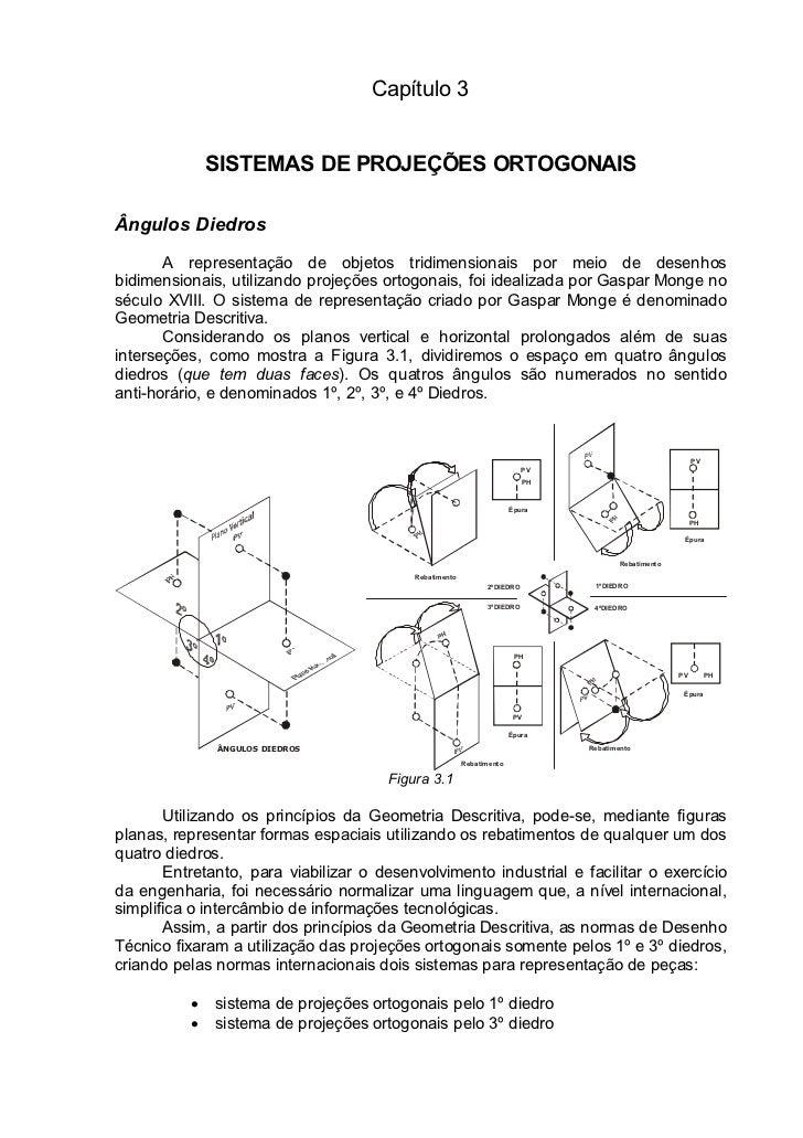 Capítulo 3              SISTEMAS DE PROJEÇÕES ORTOGONAISÂngulos Diedros       A representação de objetos tridimensionais p...