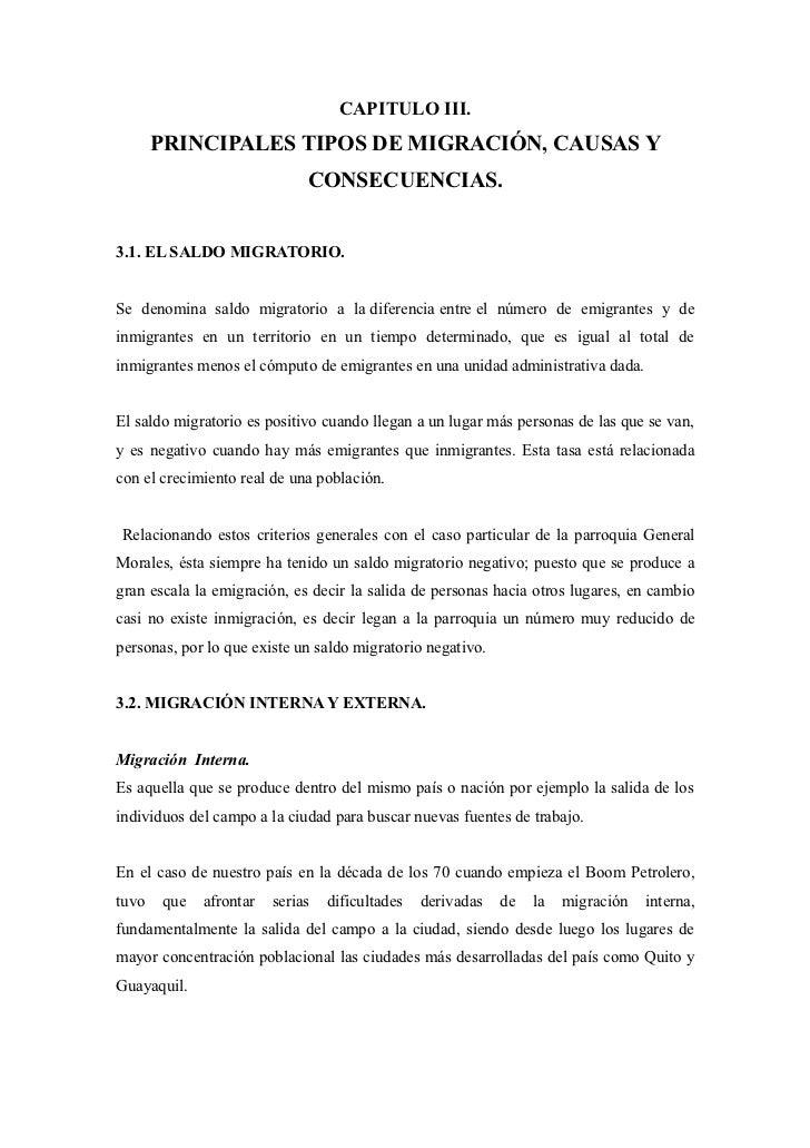 CAPITULO III.       PRINCIPALES TIPOS DE MIGRACIÓN, CAUSAS Y                             CONSECUENCIAS.3.1. EL SALDO MIGRA...