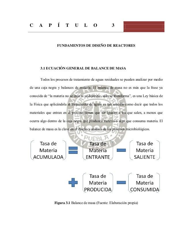 C A P Í T U L O 3 FUNDAMENTOS DE DISEÑO DE REACTORES 3.1 ECUACIÓN GENERAL DE BALANCE DE MASA Todos los procesos de tratami...
