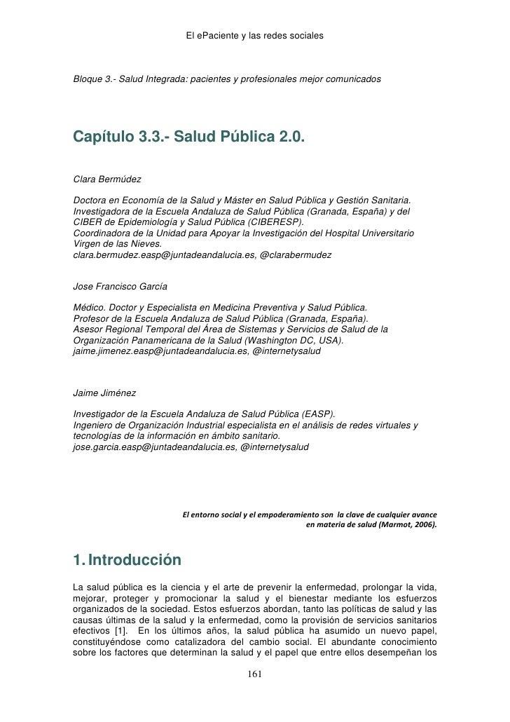 El ePaciente y las redes sociales                                               Bloque 3.- Salud Integrada: pacientes y p...