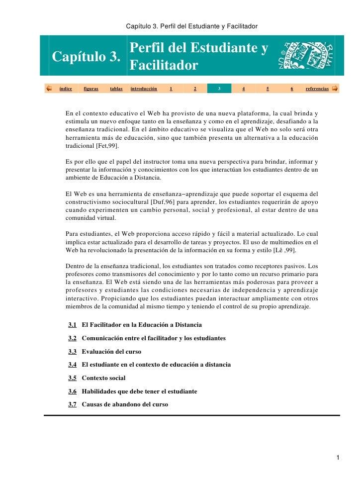Capítulo 3. Perfil del Estudiante y Facilitador               Perfil del Estudiante y Capítulo 3.             Facilitador ...