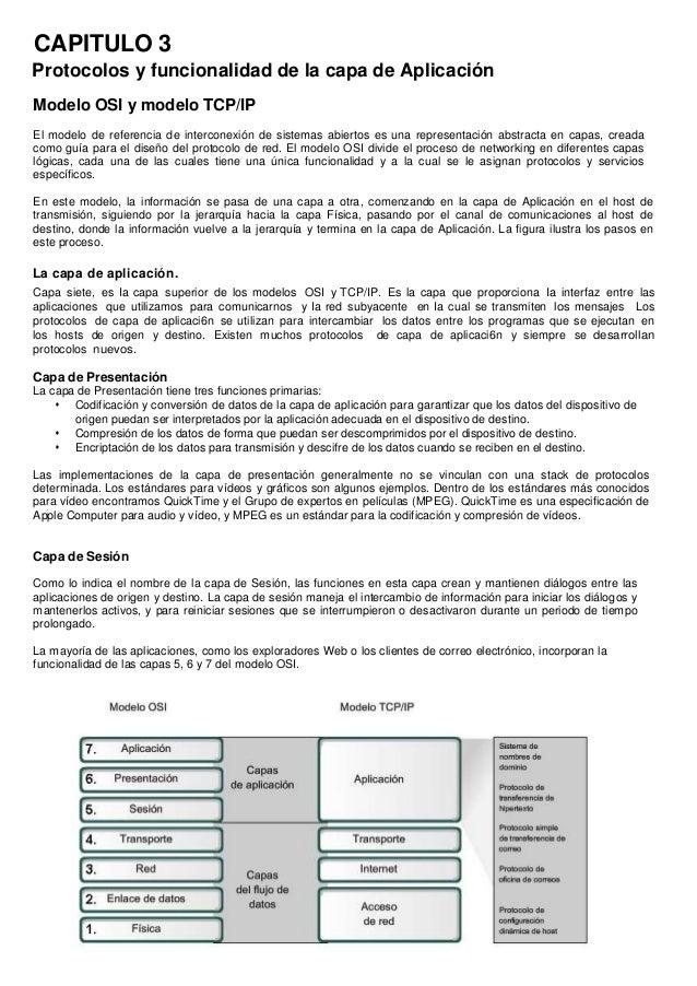 CAPITULO 3Protocolos y funcionalidad de la capa de AplicaciónModelo OSI y modelo TCP/IPEl modelo de referencia de intercon...