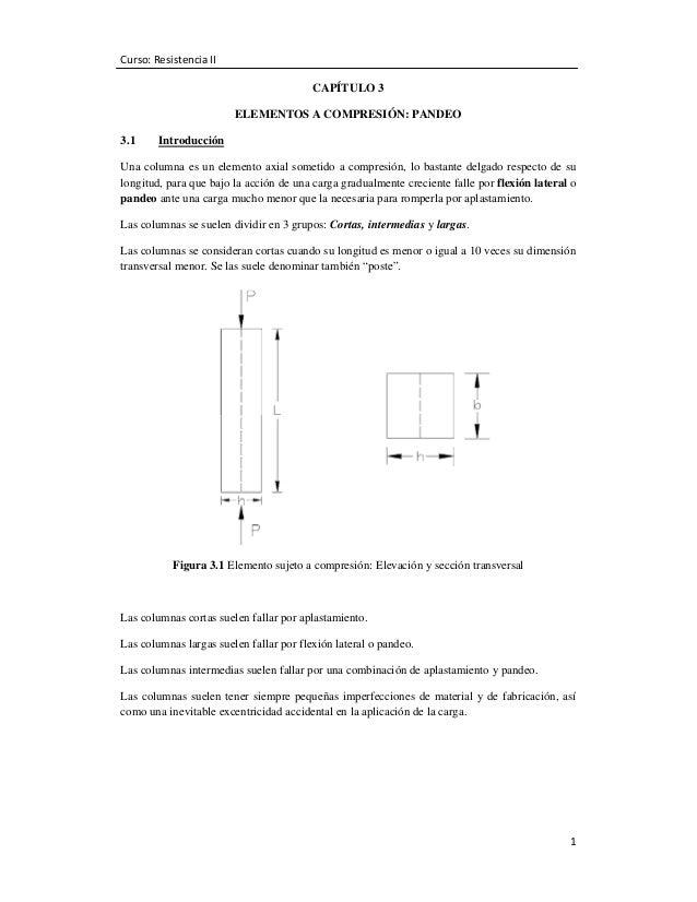 Curso: Resistencia II CAPÍTULO 3 ELEMENTOS A COMPRESIÓN: PANDEO 3.1  Introducción  Una columna es un elemento axial someti...