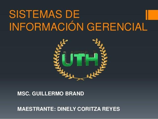 SISTEMAS DE INFORMACIÓN GERENCIAL MSC. GUILLERMO BRAND MAESTRANTE: DINELY CORITZA REYES