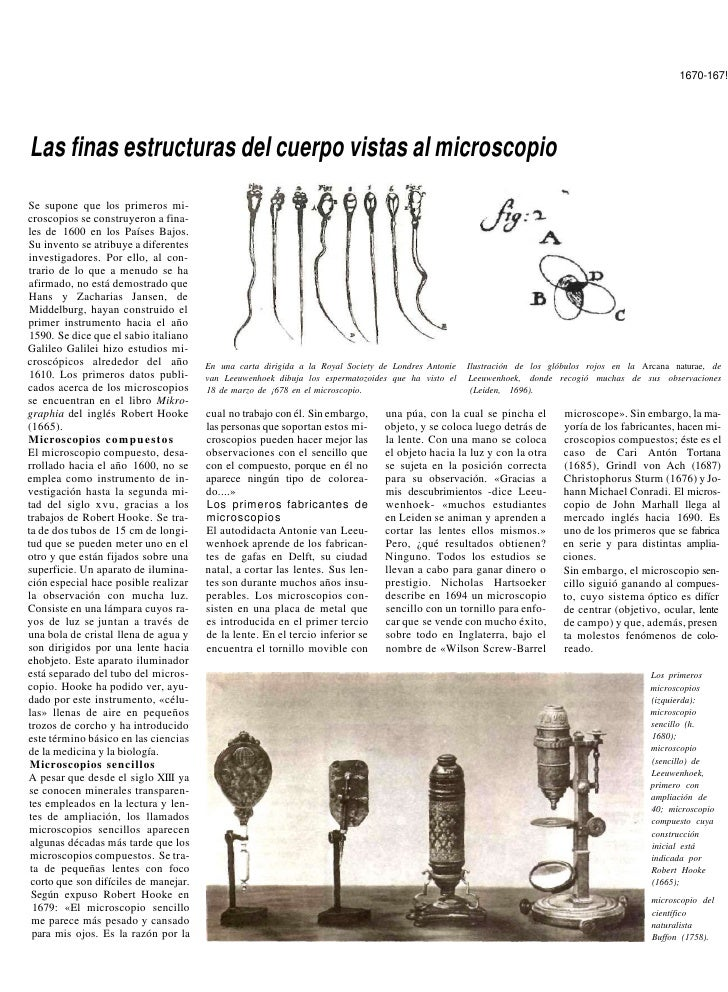 1670-167!     Las finas estructuras del cuerpo vistas al microscopio Se supone que los primeros mi- croscopios se construy...