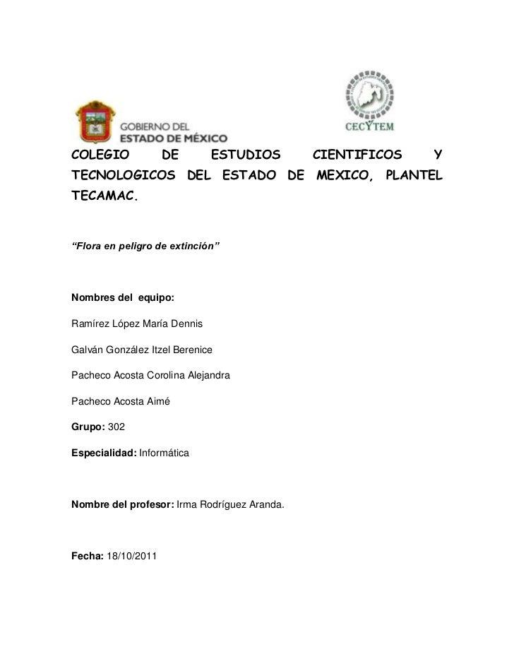 """COLEGIO             DE       ESTUDIOS         CIENTIFICOS   YTECNOLOGICOS DEL ESTADO DE MEXICO, PLANTELTECAMAC.""""Flora en p..."""