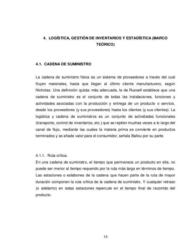 4. LOGÍSTICA, GESTIÓN DE INVENTARIOS Y ESTADÍSTICA (MARCO                                    TEÓRICO)4.1. CADENA DE SUMINI...