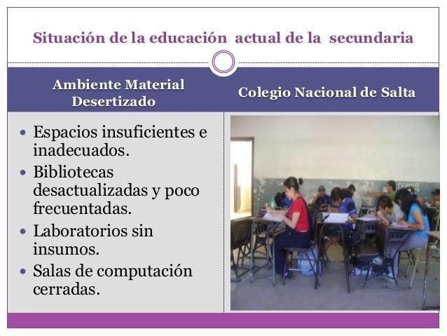 Ambiente MaterialDesertizadoColegio Nacional de SaltaSituación de la educación actual de la secundaria Espacios insuficie...