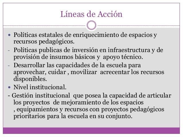 Líneas de Acción Políticas estatales de enriquecimiento de espacios yrecursos pedagógicos.- Políticas publicas de inversi...