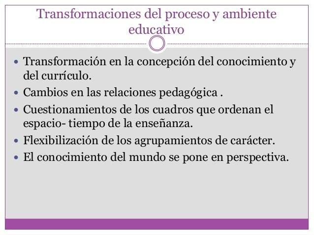 Transformaciones del proceso y ambienteeducativo Transformación en la concepción del conocimiento ydel currículo. Cambio...