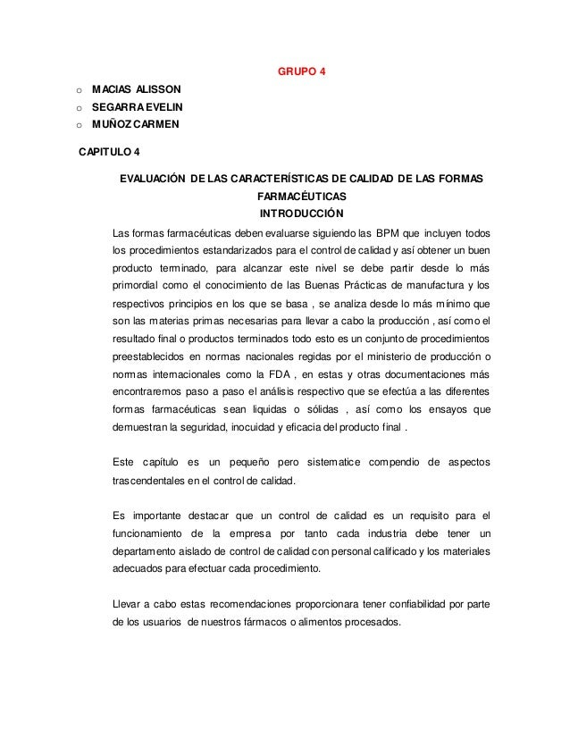 GRUPO 4 o MACIAS ALISSON o SEGARRA EVELIN o MUÑOZ CARMEN CAPITULO 4 EVALUACIÓN DE LAS CARACTERÍSTICAS DE CALIDAD DE LAS FO...