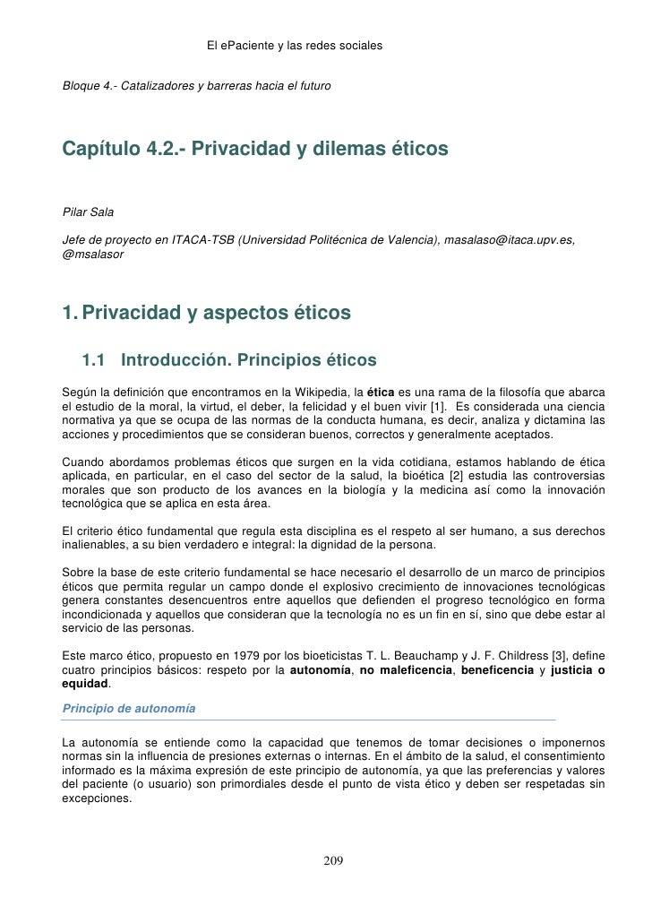 El ePaciente y las redes socialesBloque 4.- Catalizadores y barreras hacia el futuroCapítulo 4.2.- Privacidad y dilemas ...