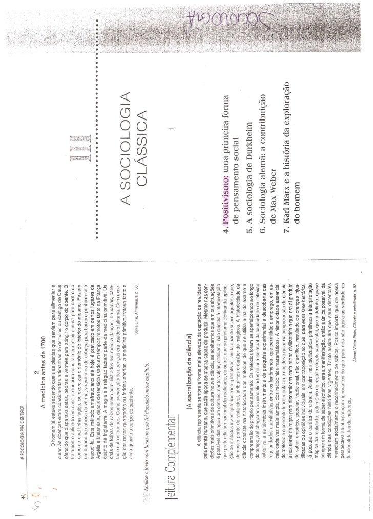 Capitulo 4 - A Sociologia Clássica -  Positivismo Uma primeira forma de pensamento Social  - Do livro A sociologia Pré-Cie...