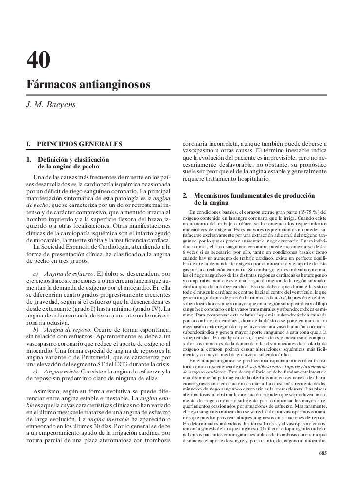 40Fármacos antianginososJ. M. BaeyensI.   PRINCIPIOS GENERALES                                      coronaria incompleta, ...