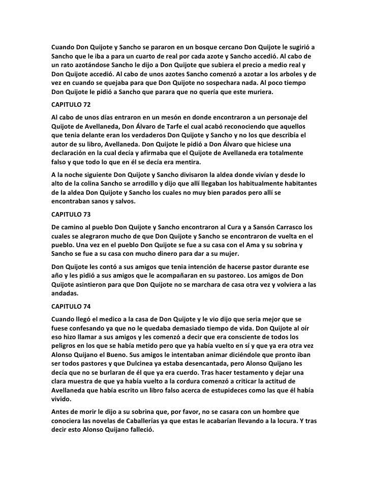 Resumen Por Capitulo Del Quijote De La Mancha