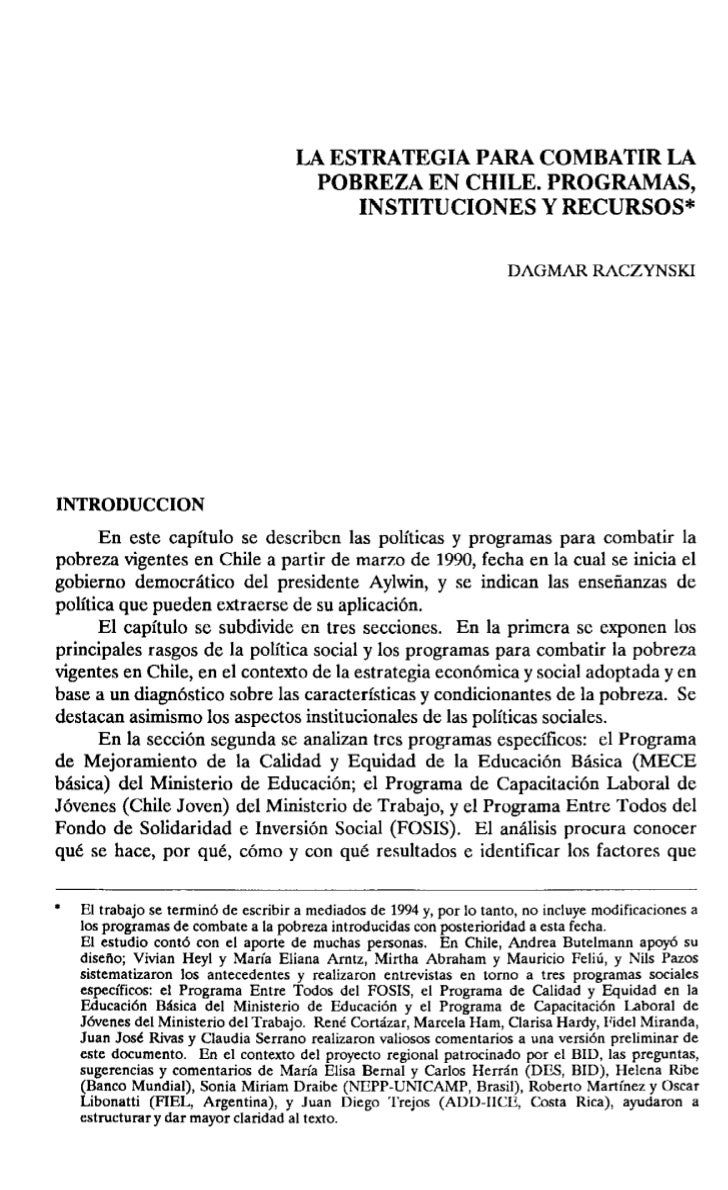LA ESTRATEGIA PARA COMBATIR LA                                      POBREZA EN CHILE. PROGRAMAS,                          ...