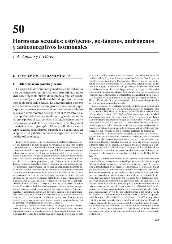 50Hormonas sexuales: estrógenos, gestágenos, andrógenosy anticonceptivos hormonalesJ. A. Amado y J. FlórezI.   CONCEPTOS F...
