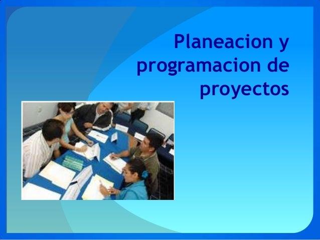 Planeacion yprogramacion de       proyectos