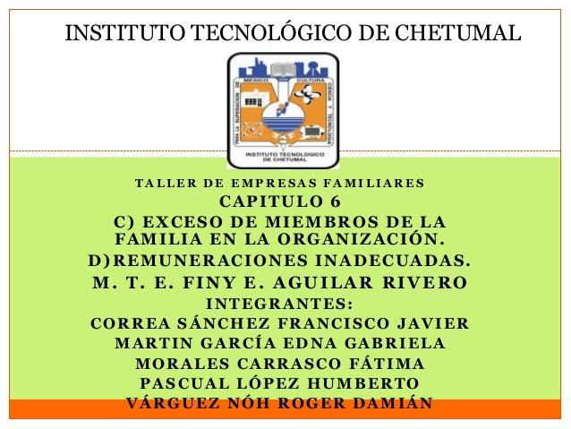 INSTITUTO TECNOLÓGICO DE CHETUMALT A L L E R D E E M P R E S A S F A M I L I A R E SCAPITULO 6C) EXCESO DE MIEMBROS DE LAF...